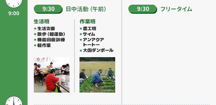 9時30分:日中活動(午前)